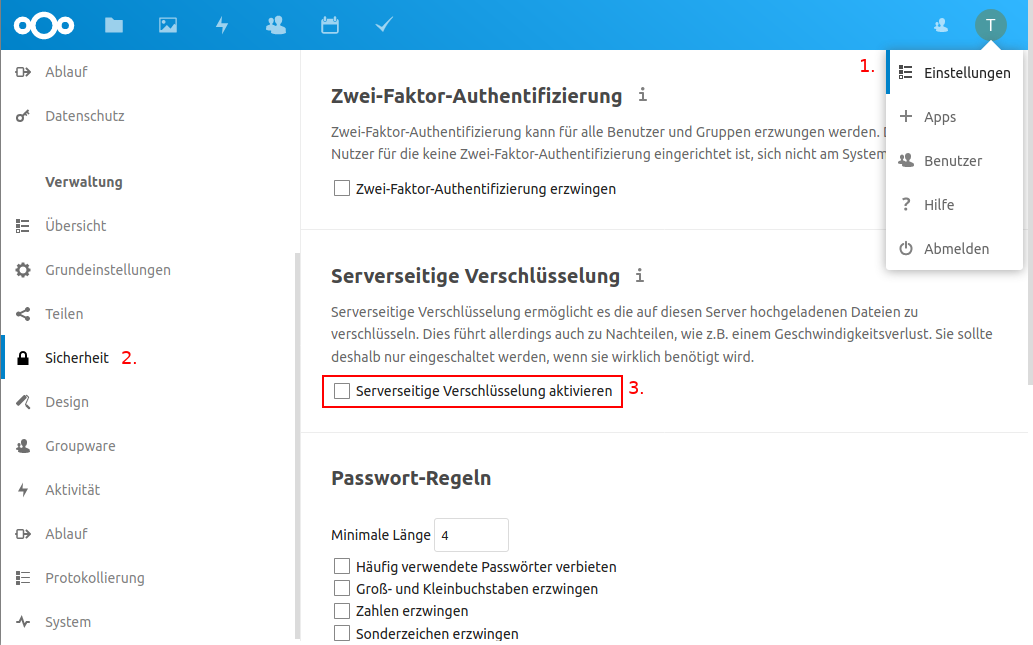 Serverseitige Verschlüsselung im Nextcloud Backend aktivieren
