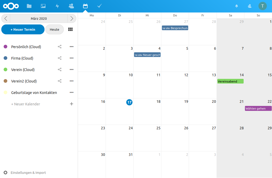 Nextcloud Kalender im Browser